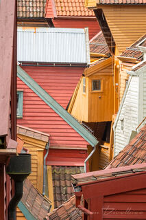 Abstract view of overlapping roofs in the Bryggen section of Bergen, Norway taken from Ovregaten Road.