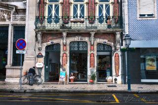 Storefront with mosaics along Rua de Viana do Castelo in Aveiro, Portugal.