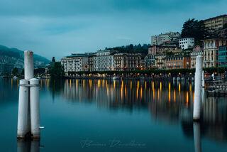 Harbors of Lugano, Switzerland at dawn.