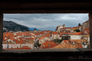 Roofs of Dubrovnik, Croatia, viewed from above on the Old Town wall walk.