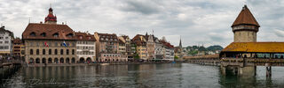Panorama of Kapellbrücke across the River Reuss in Lucerne, Switzerland.