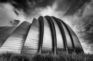 Kauffman Center for the Performing Arts in Kansas City, Missouri from below in black and white.