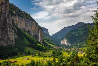 Sunny Lauterbrunnen Valley in Bern, Switzerland.