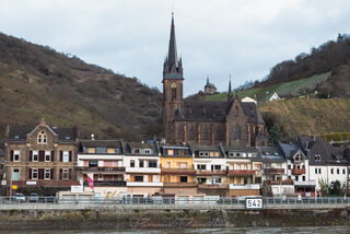 Village of Lorchhausen viewed from the river in Hesse, Germany