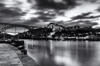City of Porto, Portugal across the Duoro River in black and white.