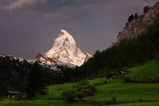 Matterhorn at dawn above valley in Valais, Switzerland.