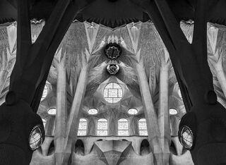Symmetrical view of ceiling of La Sagrada Familia in Barcelona, Spain in black and white.