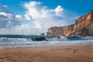 Cliffs above the beach in Nazaré, Portugal.