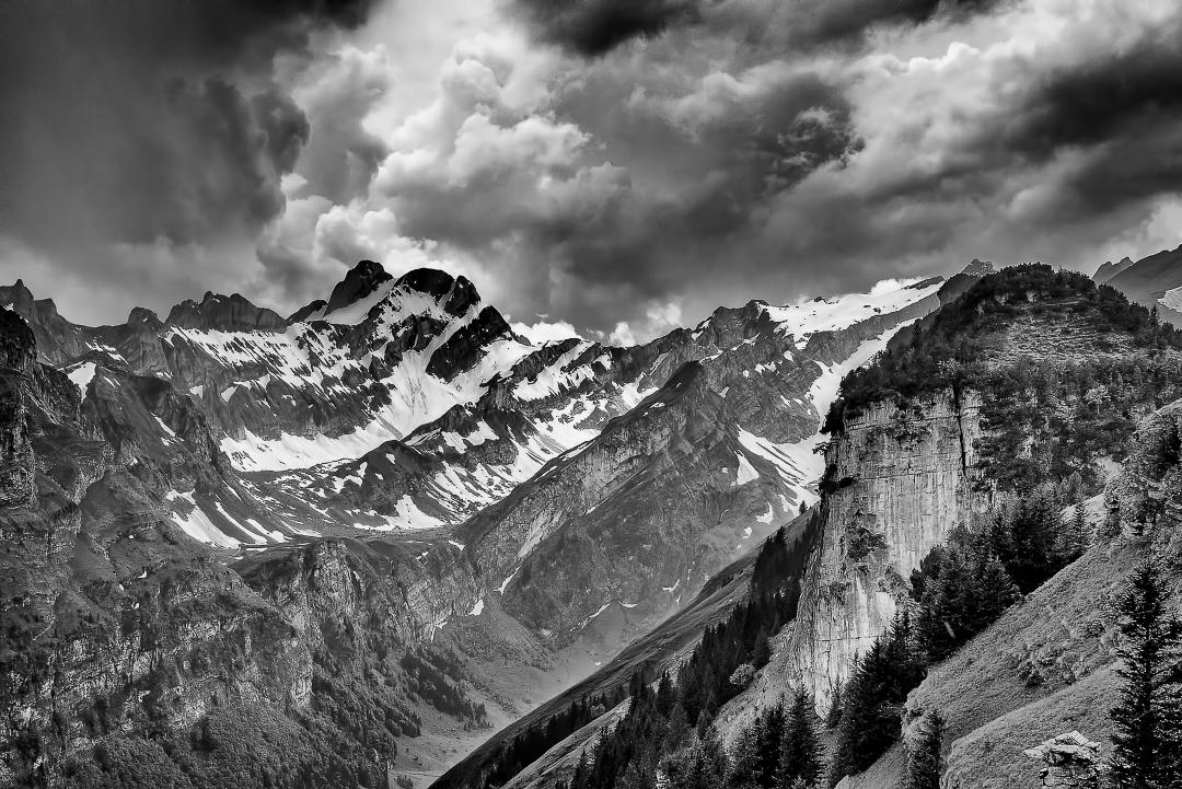 Panoramic view of the mountains near Ebenalp near Wassrauen, Switzerland.