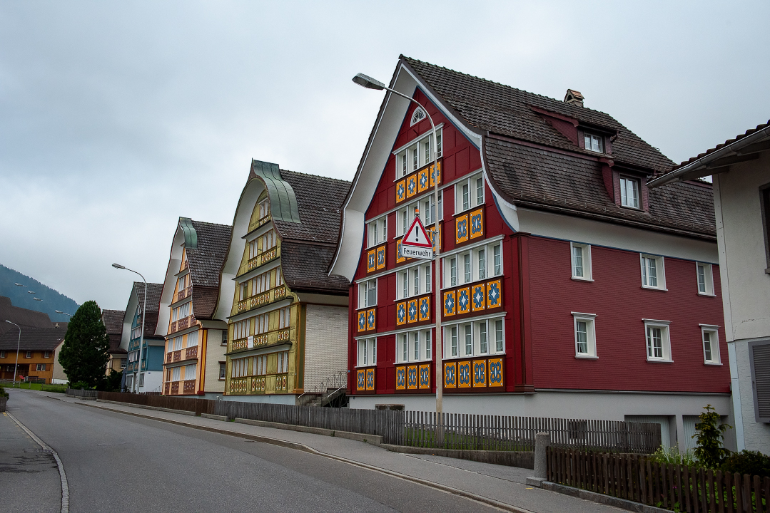 Colorful house fronts in Appenzell, Switzerland.