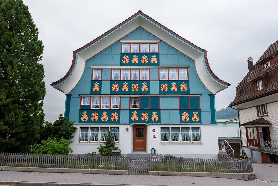 A colorful house front in Appenzell, Switzerland