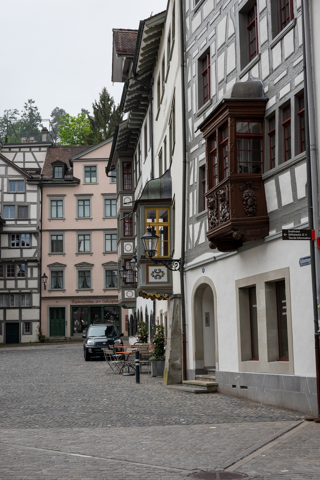 The facades of the buildings in old town St. Gallen, Switzerland.