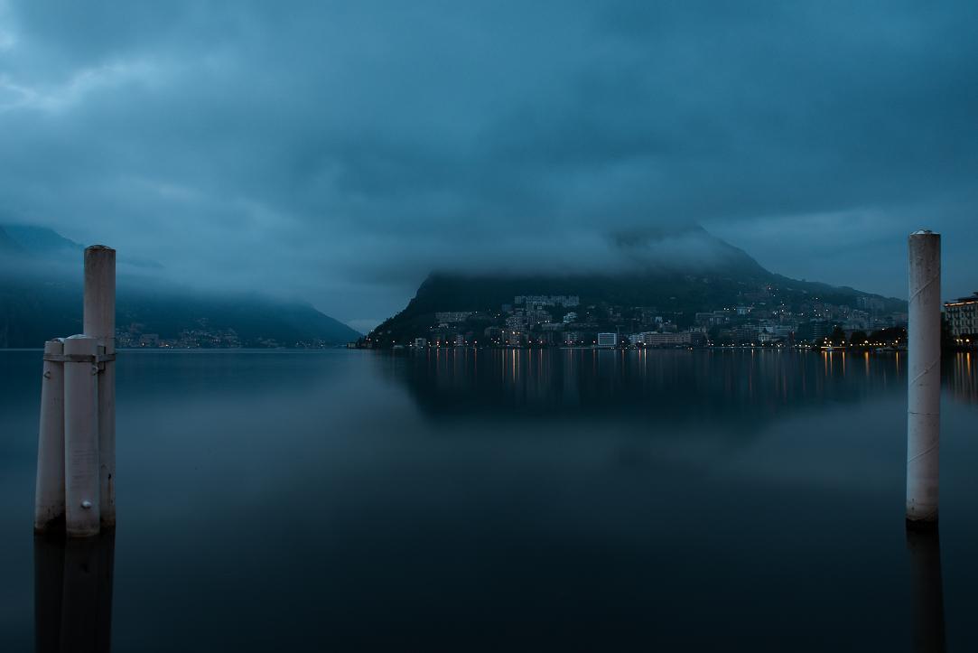 Monte San Salvatore from Lugano lakeshore