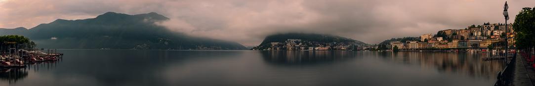 Panoramic view from Lugano ferry landing
