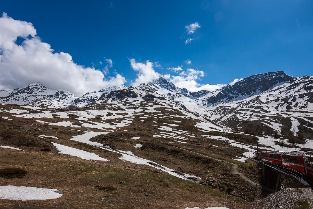 Heading down from Bernina Pass to St Moritz