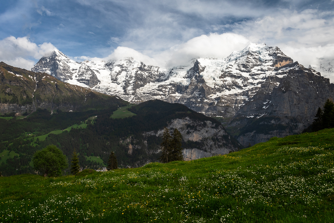 walking from Murren to cable car station at Grutschalp