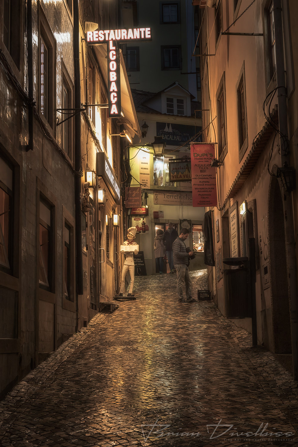 Rainy street at night in Sintra, Portugal.