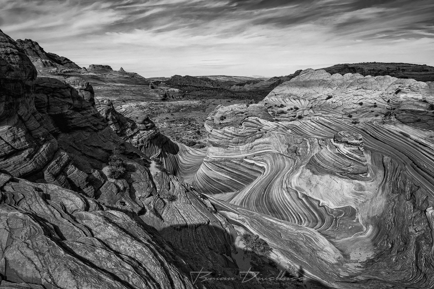 The Wave and Vermilion Cliffs National Monument from above on the Wave Trail.