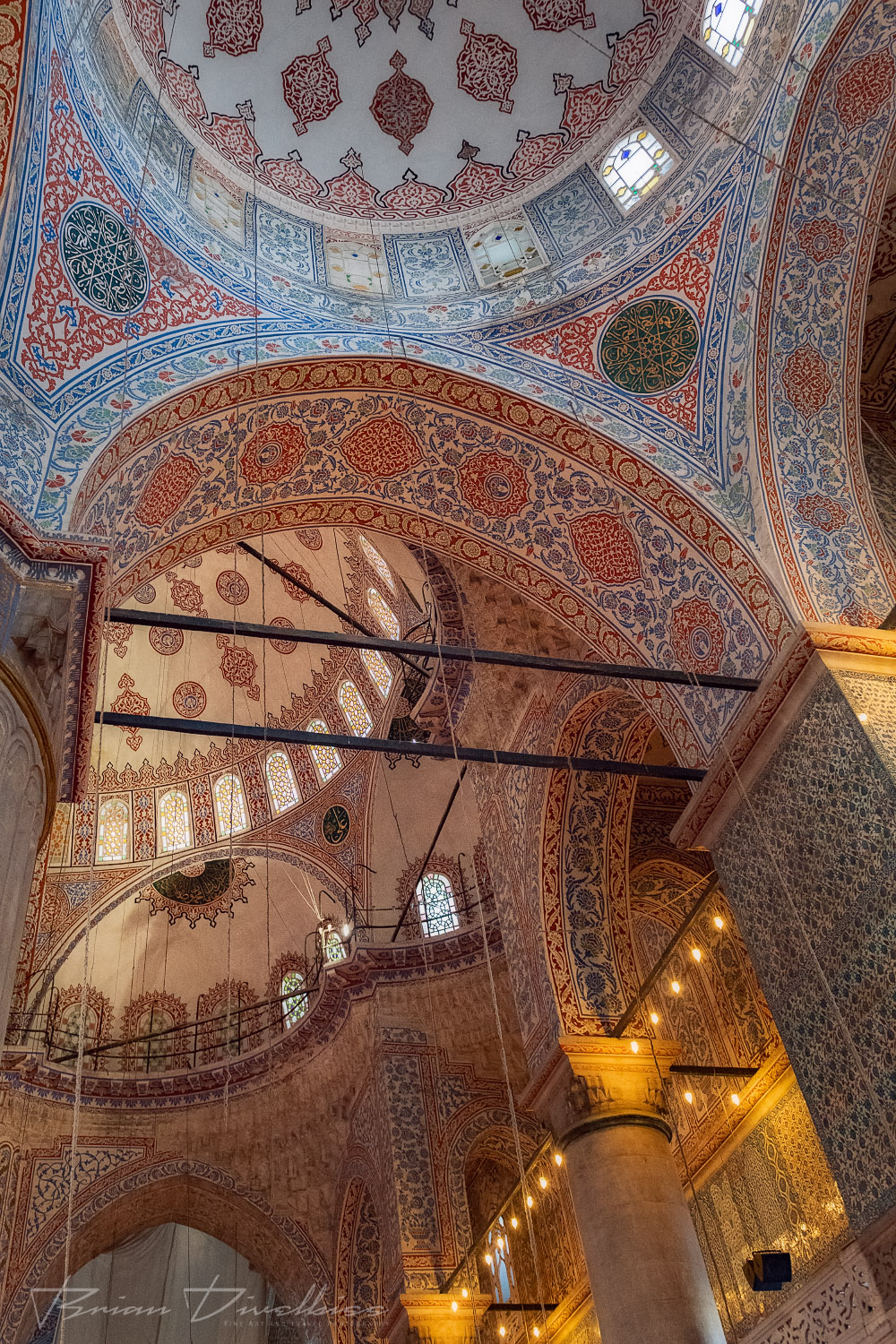 Domes of the Blue Mosque in Istanbul, Turkey from below.