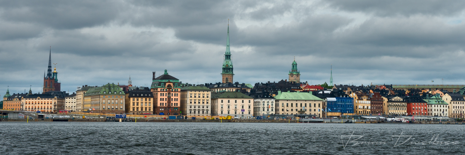 Panorama of Old Town Stockholm viewed from the water.