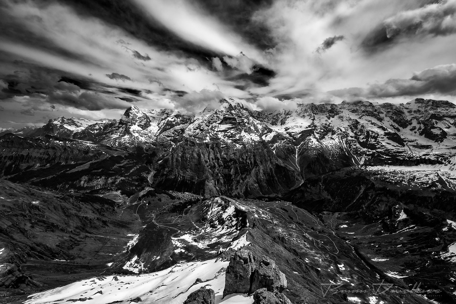 Mountains of Bern, Switzerland from Birg in black and white.