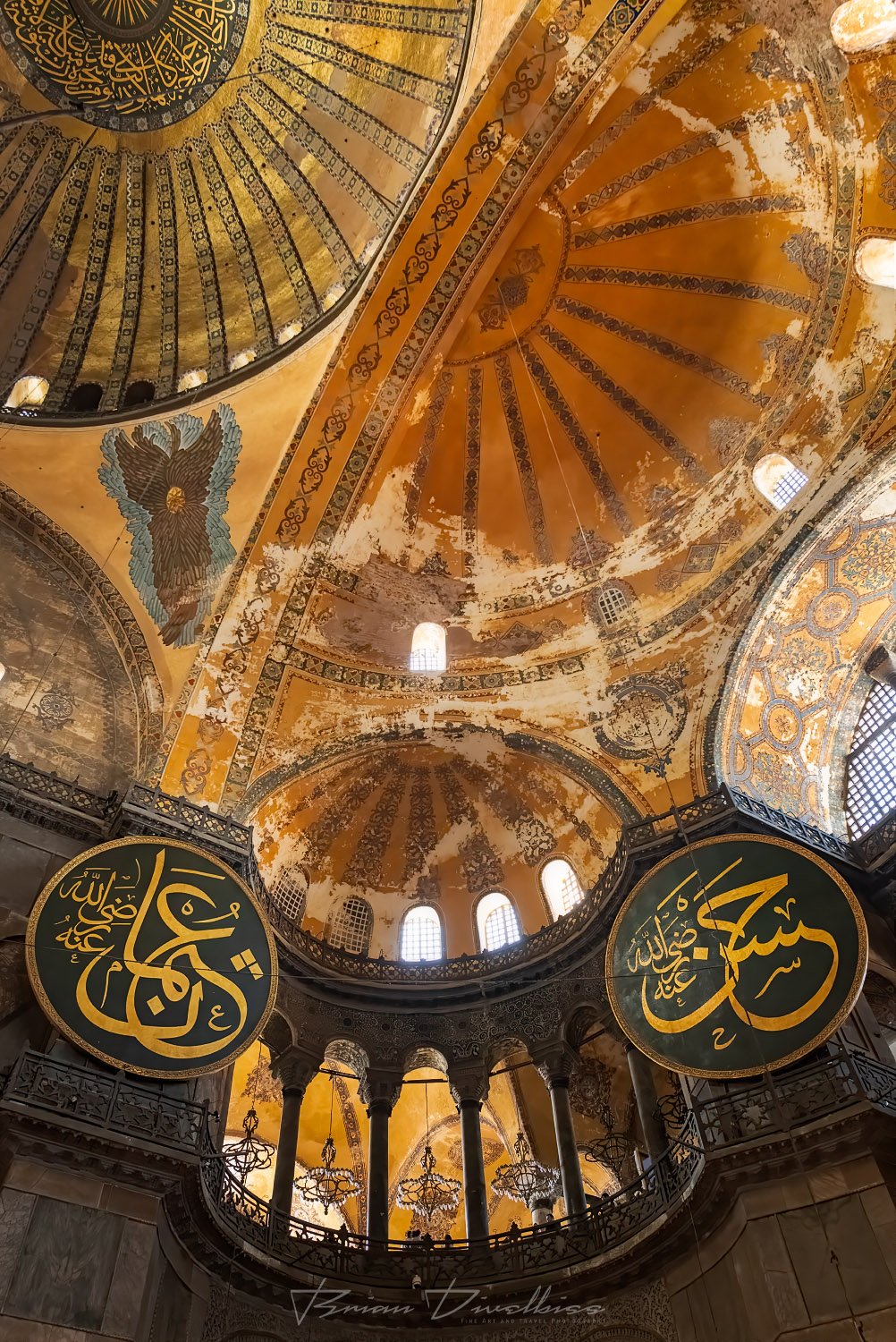 Domes of the Hagia Sophia in Istanbul, Turkey from below.