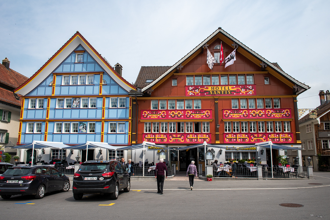 The colorful face of the Hotel Santis in Appenzell, Switzerland.