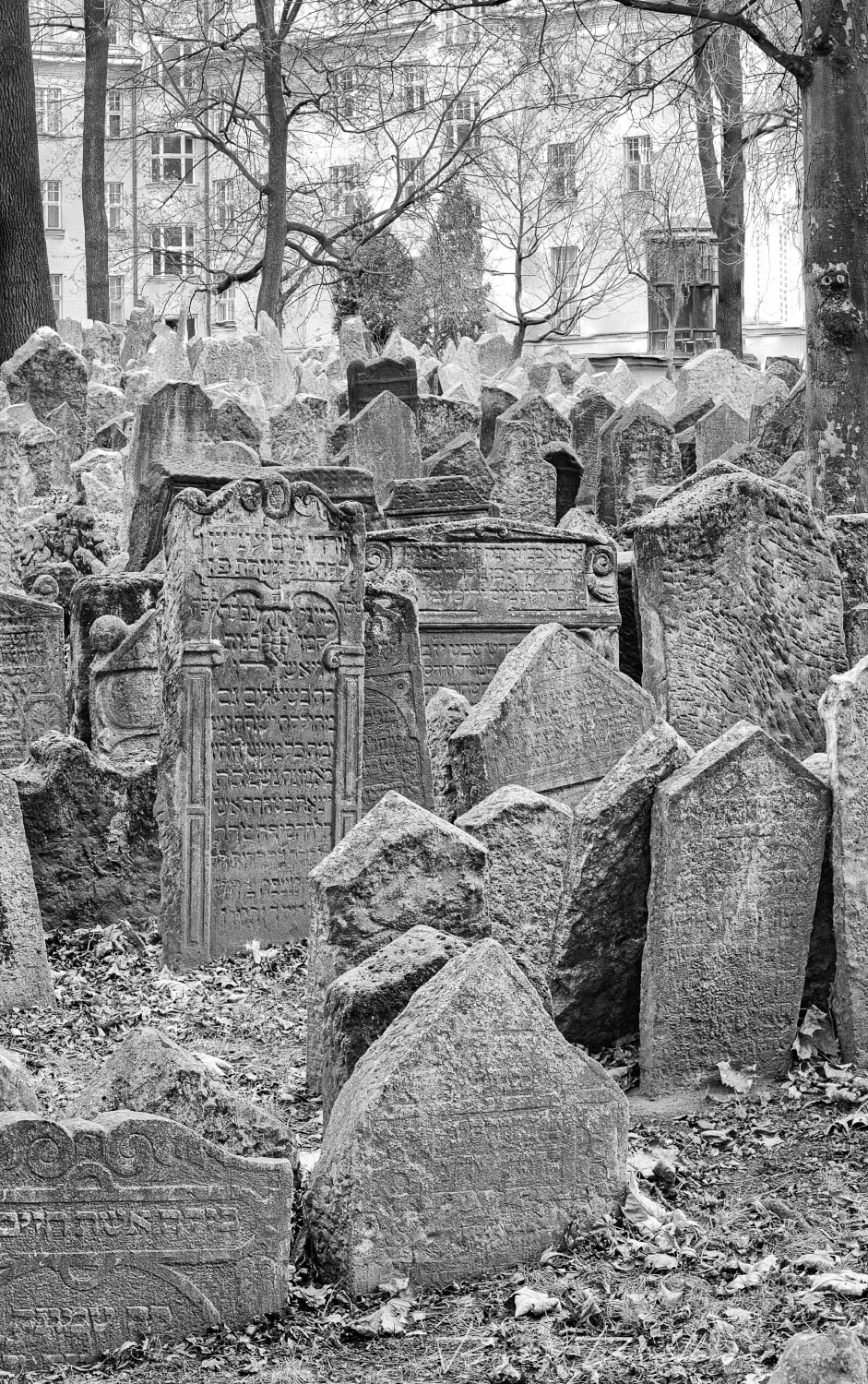Crumbling tombstones at the Old Jewish Cemetery in Prague, Czech Republic, in black and white.