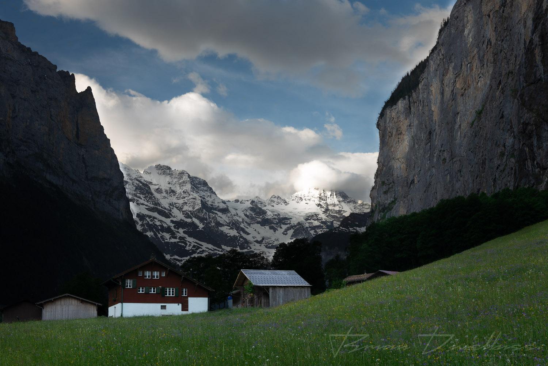 Cloudy Lauterbrunnen Valley in Bern, Switzerland.