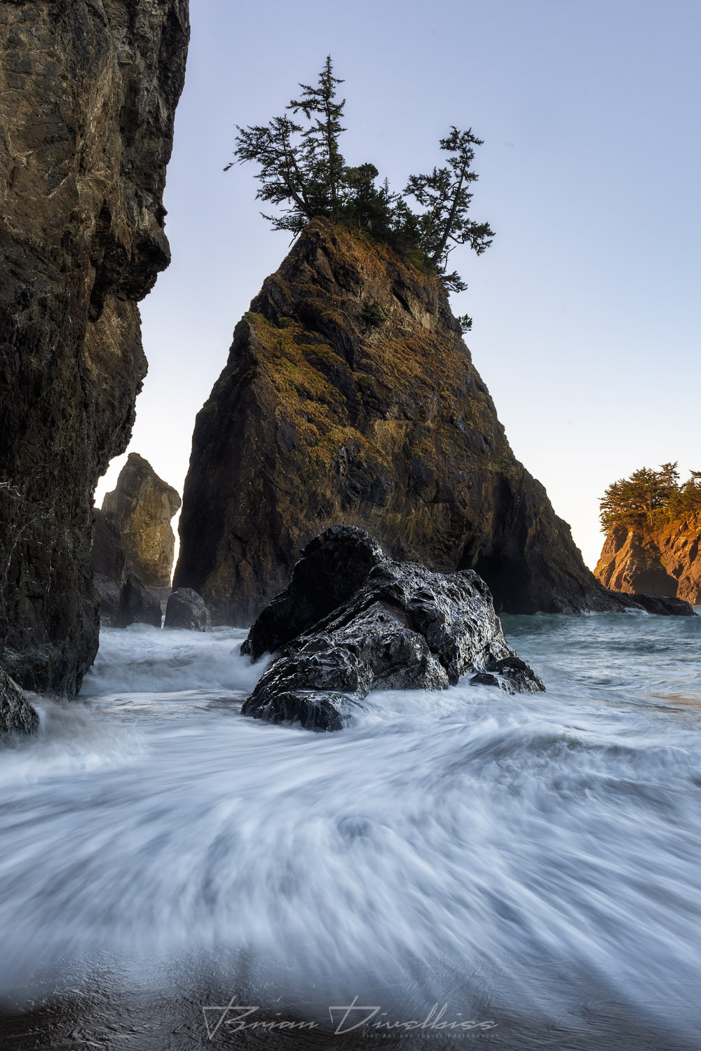 Swirling waters surround seastacks on the coast of Southern Oregon.