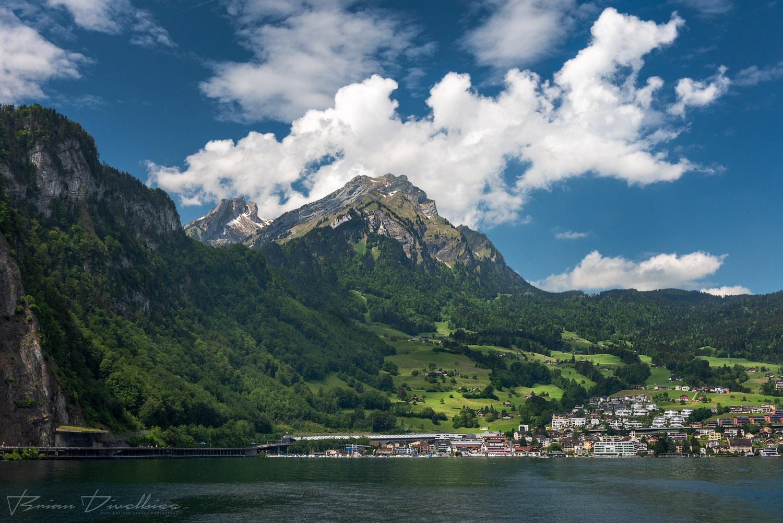 Mt. Pitatus from Lake Lucerne in Lucerne, Switzerland.