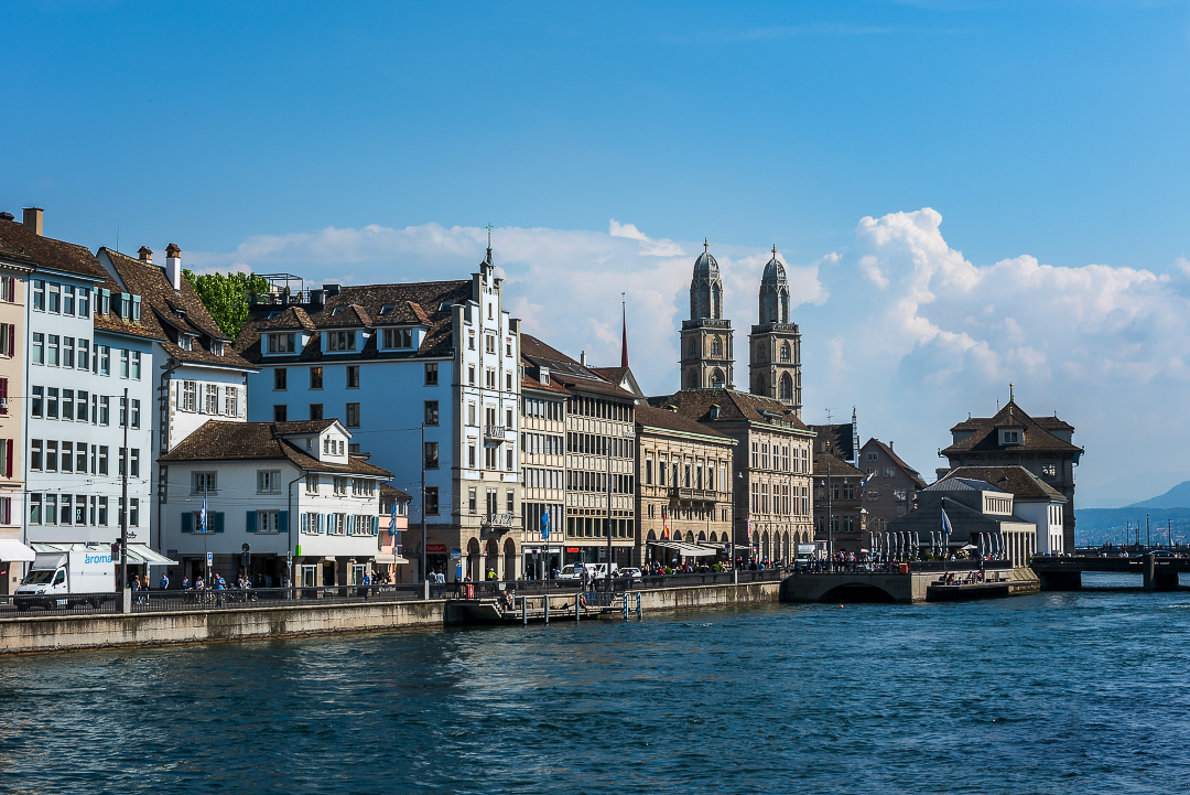 Looking across the Limmat River onto Niederdorf and the Grossmünster towers.