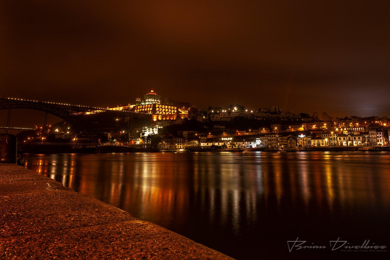 City of Vila Nova de Gaia, Portugal, across the Duoro River at night.