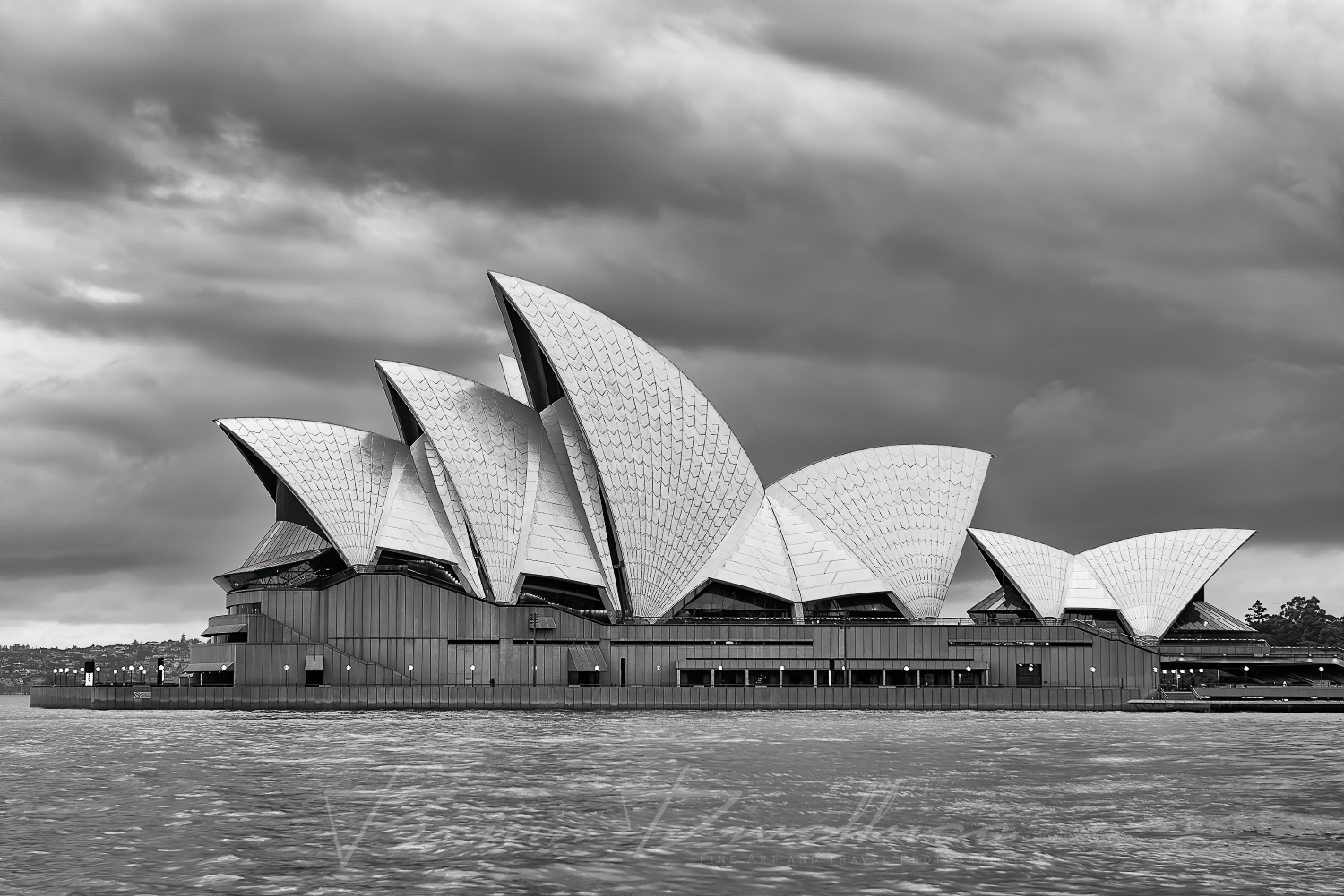 Sydney Opera House and Sydney Harbour viewed from Dawes Point in black and white.
