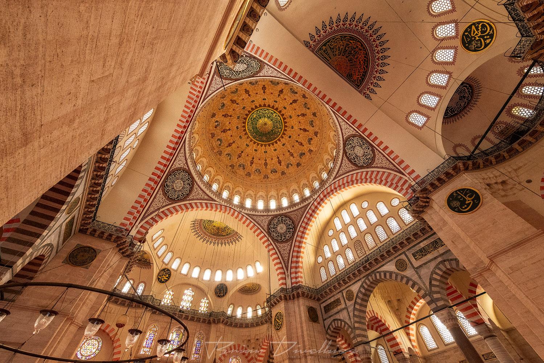 Ceiling of Suleymaniye Mosque in Istanbul, Turkey.