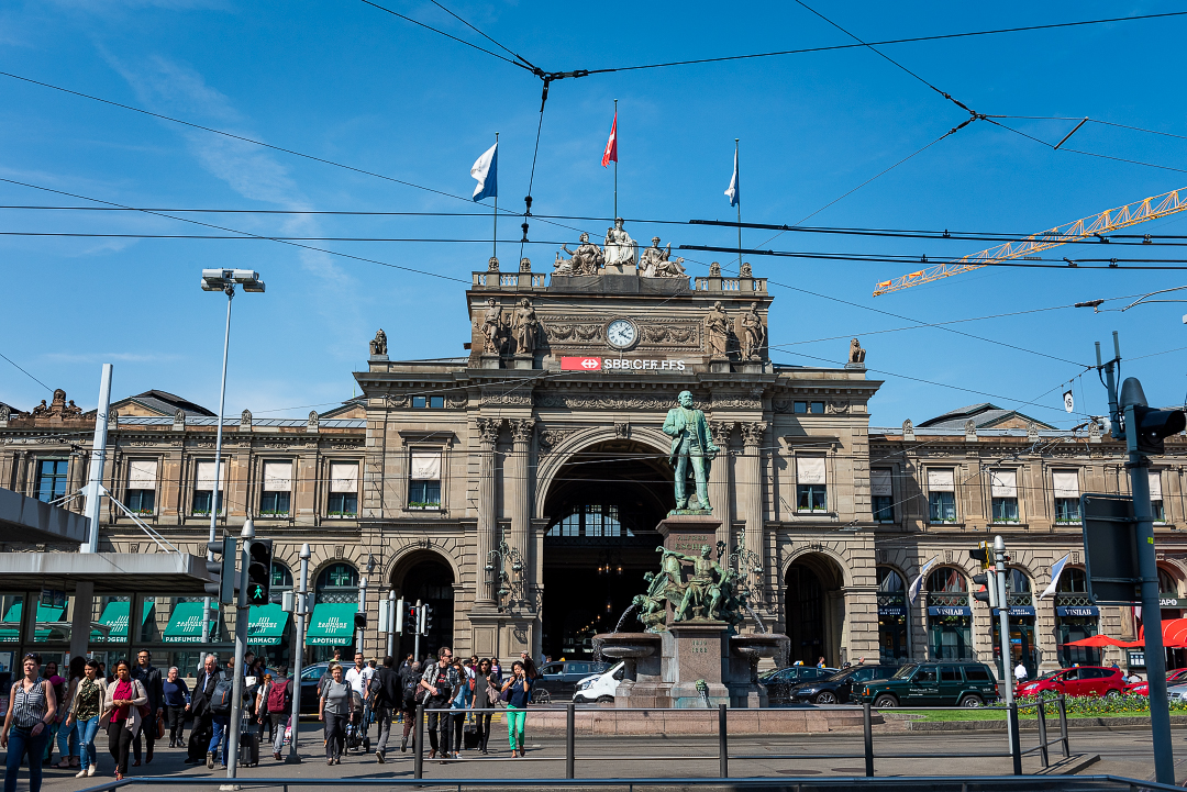 Entrance to the Zurich train station.