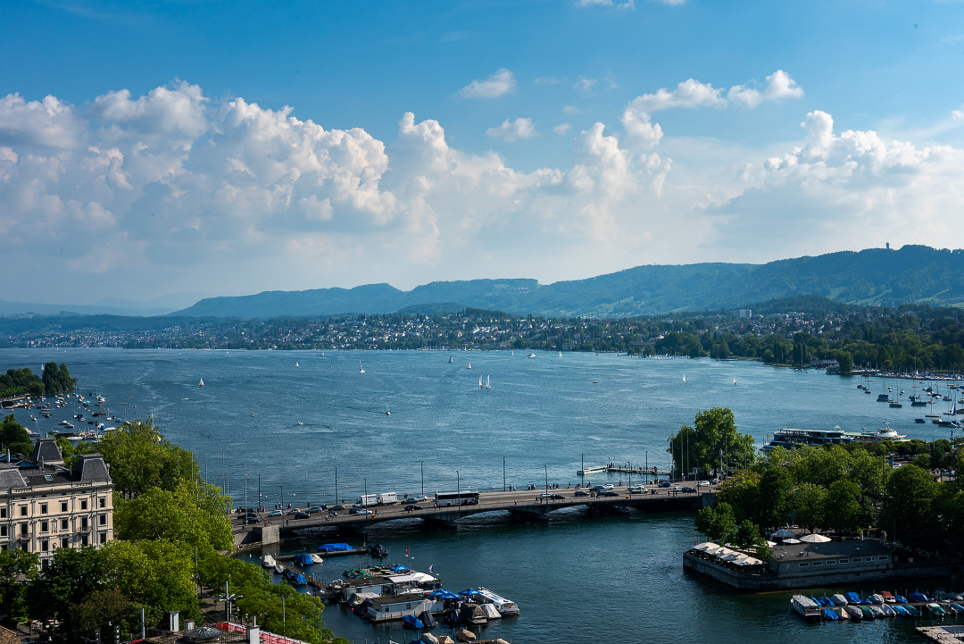 Panoramic view of the Zürichsee from the Grossmünster towers.